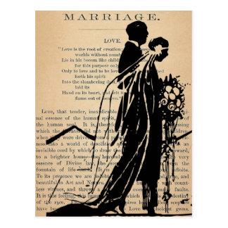 Longfellowの花嫁の新郎のシルエットによる結婚の詩 ポストカード
