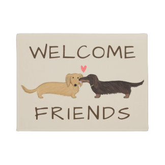 Longhaired Dachshunds Welcome Mat with Custom Text ドアマット