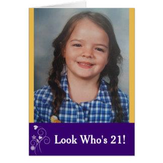 Look Who's 21 Custom Birthday Photo Card カード