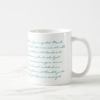 Lorem Ipsumの執筆-ティール(緑がかった色)の文字 コーヒーマグカップ