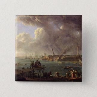 Lorientの港の眺め 5.1cm 正方形バッジ