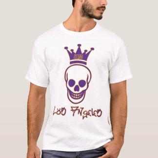 Losは213のスカルのワイシャツを-紫色および金ゴールド曲げます Tシャツ