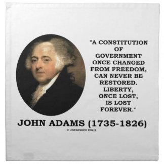 lost永久に失ったジョン・アダムズの自由は引用します ナプキンクロス