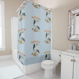 Lost Pigeon Fun Shower Curtain シャワーカーテン