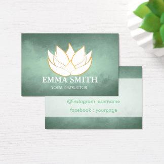 Lotus Flower Blue Green Relax Bussines card 名刺