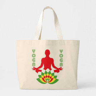 Lotus Flower Yoga ラージトートバッグ