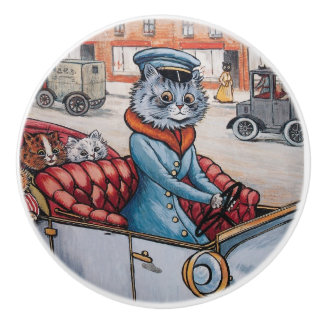 Louis Wain Cat Chauffeur Decorative Knob セラミックノブ
