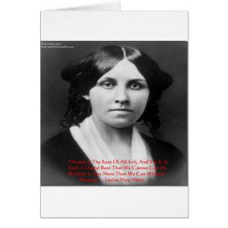 """LouisaはAlcottの""""お金の邪悪な""""知恵の引用文のギフトよろしいです カード"""