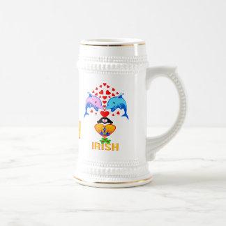 ♫♥LoveのアイルランドかわいいイルカのカップルステインビールMug♥♪ ビールジョッキ