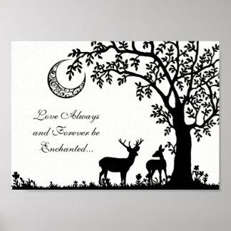 Love Always Enchanted Moon Tree and Deer Couple ポスター