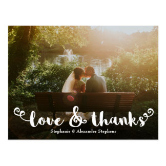 Love and Thanks Brush Wedding Photo Thank You Card ポストカード