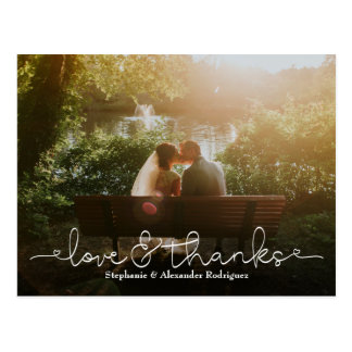 Love and Thanks Heart Wedding Photo Thank You Card ポストカード