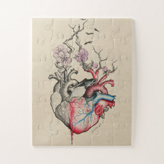 Love art two anatomical hearts with flowers ジグソーパズル