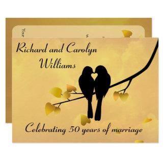Love Birds 50th Anniversary Invitation 11.4 X 15.9 インビテーションカード