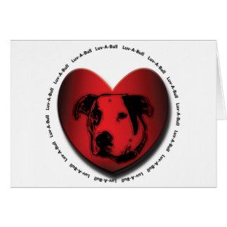 Love Bullのアメリカのブルドッグのピット・ブルのハート カード
