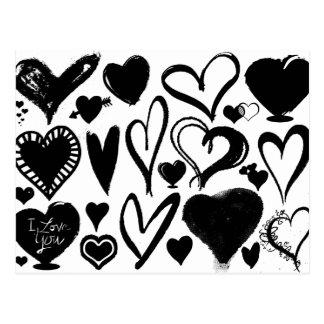 Love, Romance, Hearts - Black White ポストカード