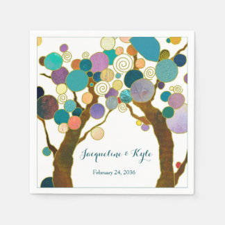 Love Trees in Shades of Teal Wedding スタンダードカクテルナプキン