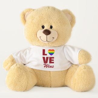 Love Wins Gay Pride Rainbow Flag Heart テディベア