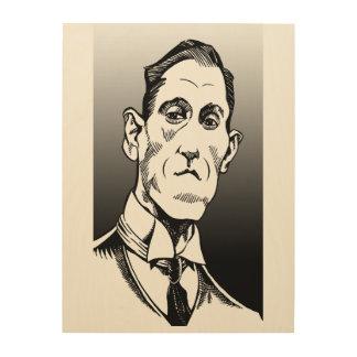 Lovecraftのポートレート、Lovecraftの芸術、木製の壁の芸術 ウッドウォールアート