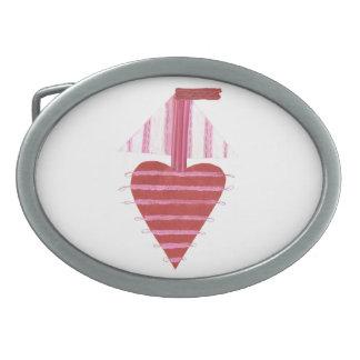 Loveheartのボート背景のバックル無し 卵形バックル