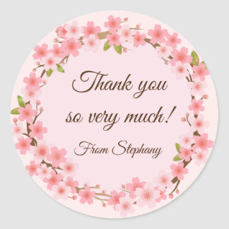 Lovely Cherry Blossoms Wreath Thank you Stickers ラウンドシール