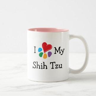 Lover_Iの動物のハート私のシーズー(犬) Tzu ツートーンマグカップ