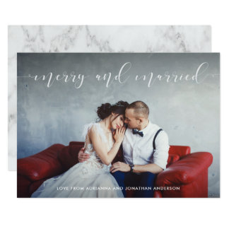 Loving Script | Merry and Married with Photo カード