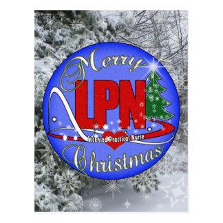 LPNのクリスマスのメリーな認可された実用的なナース ポストカード
