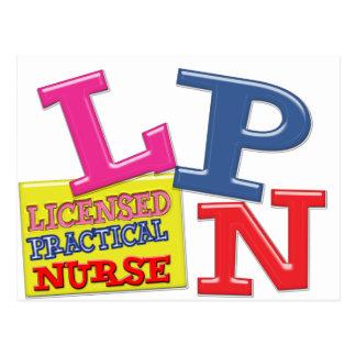 LPNのナースの医学の略称のお洒落なカラフル ポストカード