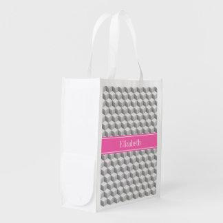 Lt灰色の3D一見の立方体のHotPink白い#2の一流のモノグラム エコバッグ