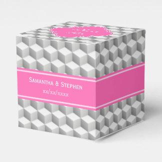 Lt灰色の3D一見の立方体のHotPink白い#2の一流のモノグラム フェイバーボックス