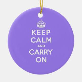 LuciousのラベンダーのKeep Calm and Carry On セラミックオーナメント