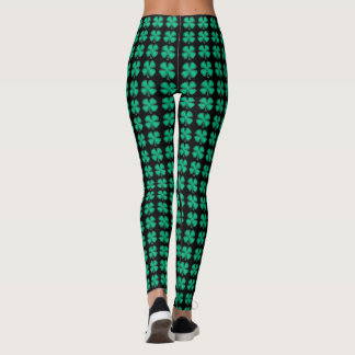 Lucky 4 Leaf Irish Clover Black Irish leggings レギンス