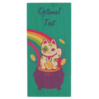 Lucky Cat Maneki Neko Good Luck Pot of Gold ウッドUSBフラッシュドライブ