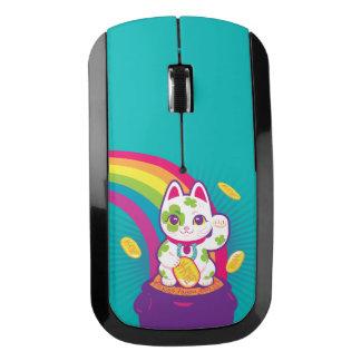 Lucky Cat Maneki Neko Good Luck Pot of Gold ワイヤレスマウス