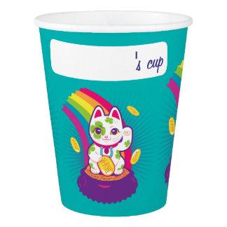 Lucky Cat Maneki Neko Good Luck Pot of Gold 紙コップ