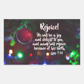 Luke 1:14 Rejoice! He will be a joy, Christmas 長方形シール