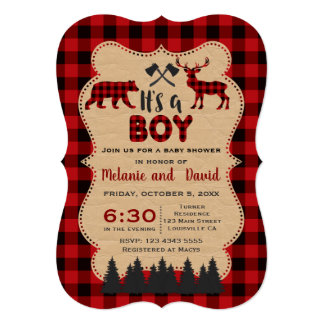 Lumberjack Red Buffalo Little Hunter Baby Shower カード