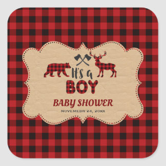 Lumberjack Red Buffalo Little Hunter Baby Shower スクエアシール