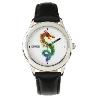 Luner著ステンレス鋼の虹のドラゴンの腕時計 腕時計