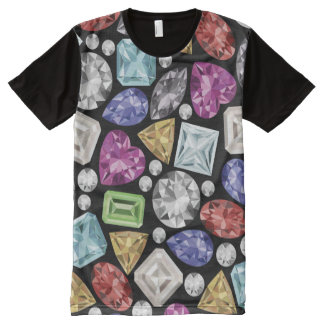 Luxurious colorful Diamond Pattern オールオーバープリントT シャツ
