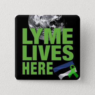 Lymeはエストニアの旗の認識度ボタンにここに住んでいます 缶バッジ