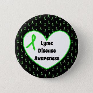Lyme Disease Awareness Ribbon  Heart Button 5.7cm 丸型バッジ