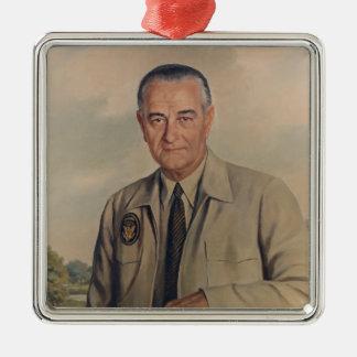 Lyndon B.ジョンソン-エリザベスShoumatoff (1969年) シルバーカラー正方形オーナメント