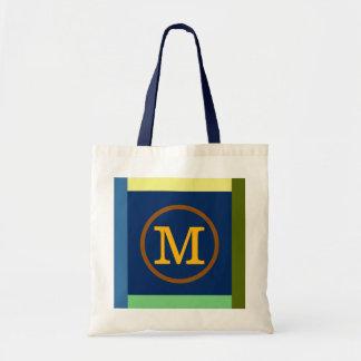 Mのイニシャル、色及びモノグラム トートバッグ