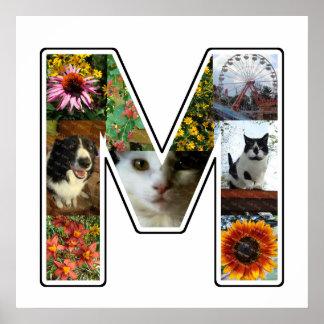 Mのモノグラムはあなた自身の9つのカスタムの写真のコラージュを作成します ポスター