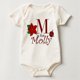 Mはモーリーのポインセチアのクリスマスのティーのためです ベビーボディスーツ