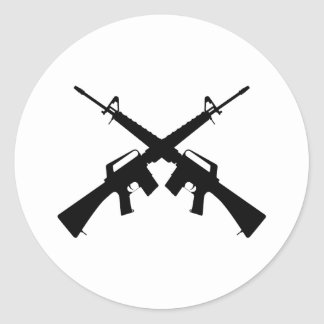 M16骨が交差した図形 ラウンドシール