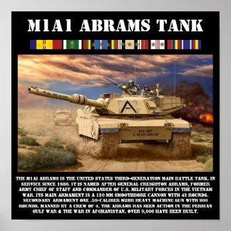 M1A1 Abramsの戦闘タンクのプリント ポスター