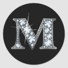 """M""のダイヤモンドのきらきら光るなステッカー ラウンドシール"